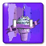 Beverly Turner Birthday Design Happy 4th Birthday Ice Cream Cone on Abstract Purple Light Switch Covers double toggle switch