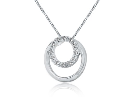 9 Carat White Gold Diamond Circle Pendant on 18 Inch Curb Chain