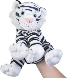 "10"" White Tiger Hand Puppet With Sound"