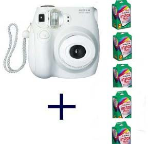 Fujifilm INSTAX MINI 7S Camera and Film Kit (White) with 5 Twin Packs of MINI INSTAX Film
