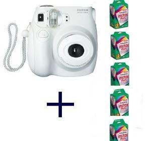 Fujifilm INSTAX MINI 7S Camera and Film Kit (White) with 5 Twin Packs of MINI INSTAX Film