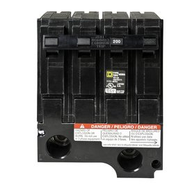 hom2200bb BRANCH, COMMON TRIP; 2 POLE; 120/240 VAC AT 50/60 HZ; 200 AMPERE; INTERRUPTING RATING 10 KILOAMPERE (UL/CSA); WIRE SIZE 4 AWG TO 300 KCMIL (ALUMINUM/COPPER); PLUG ON MOUNTING; APPROVAL UL; USED ON HOMELINE[R] LOAD CENTER; HOMELINE[R]