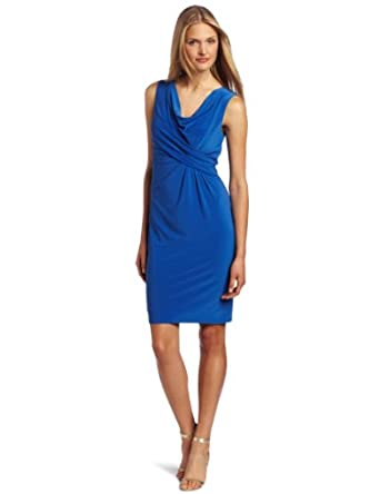 Jones New York Women's Sleeveless Cowl Neck Drape Dress, Cornflower, 6