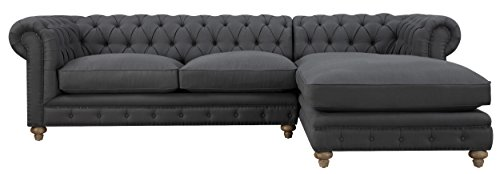 TOV Furniture Oxford Linen Right Arm Sectional Furniture, Grey