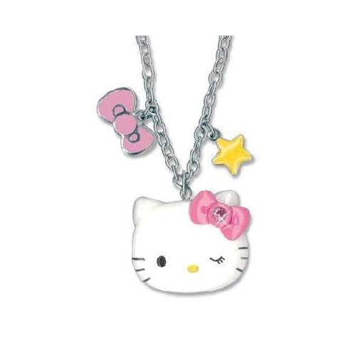 Sanrio Hello Kitty Bow & Star Charm Necklace 16 18 Inch chain