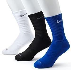 Nike Dri-FIT Half-Cushion Crew Socks (Large, Royal/White/Black)