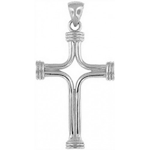 Doma Jewellery DJS03428 Sterling Silver (Rhodium Plated) Cross Pendant and Extension Leather Necklace