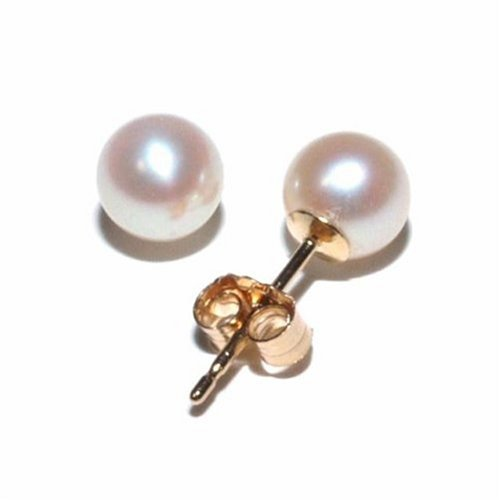 14k Yellow Gold 5-5.5mm Freshwater Cultured Pearl Stud Earrings