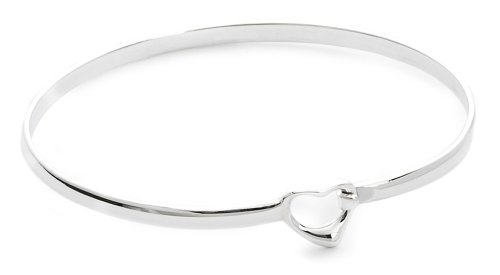 Jo for Girls Silver Open Heart Hook Top Bangle
