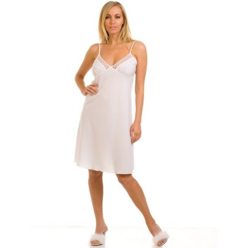 Weiß volle Spitze Trim Nachthemd Unterrock kaufen