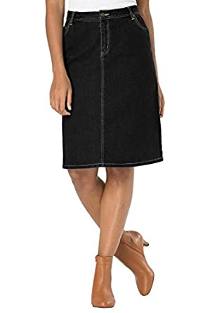 Jessica London Women's Plus Size Denim Skirt Black Denim,12