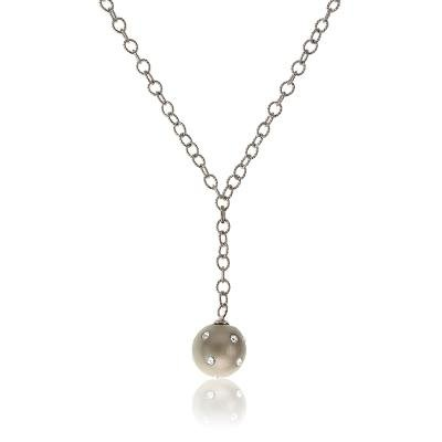 Cute & Trendy Sterling 925 Silver Link Chain Necklace with Hanging Silver Enamel Ball Pendant(WoW !With Purchase Over $50 Receive A Marcrame Bracelet Free)