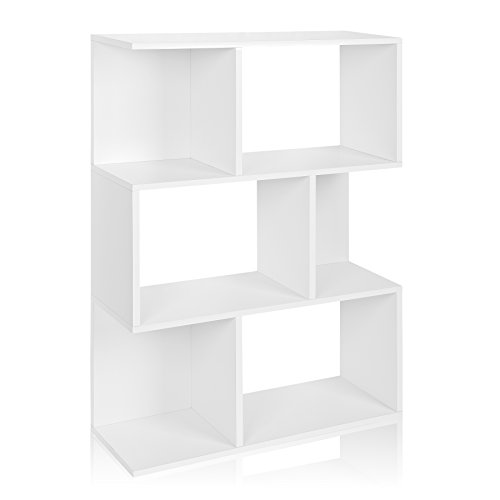 Way Basics Eco Madison Bookcase, Room Divider and Storage Shelf, White (made from sustainable non-toxic zBoard paperboard)