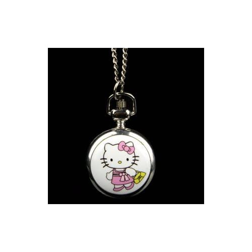 Cute Silver Tone Steel Hello Kitty Cat Fashion Pocket Watch Necklace Chain Jewelry Quartz Movement Kt