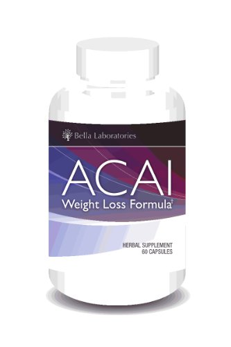 Acai Berry Weight Loss Formula by Bella Laboratories - Burn Belly Fat, Detox, Cleanse, Increase Energy - All-Natural Acai Berry Nutrional Supplement