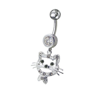 Stone fancy Kitty 925 sterling silver 14Gx3/8(1.6x10MM jewelry PiercingWorld diamond clear) 316 L surgical steel banana and 5 MM ball belly jewelry to hanging.
