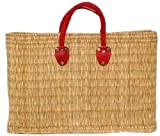 "Hand Woven Small Moroccan Straw Bag w/ Red Leather Handles 16""X10.5""X5"""