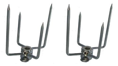 "OneGrill Chrome Rotisserie Forks (1/2''Hexagon & 3/8"" Square Spit)"