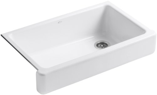 Short Apron Front Sink : ... Self-Trimming Apron Front Single Basin Sink with Short Apron, White