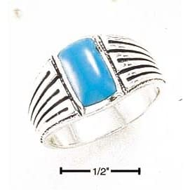 Sterling Silver Mens Turquoise Ring With striped Shank - Size 12.0