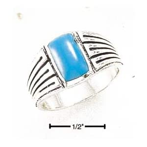 Sterling Silver Mens Turquoise Ring With striped Shank - Size 13.0