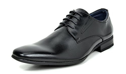 Bruno MARC GORDON-03 Men's Formal Classy Snipe Toe Lace Up Leather Lining Oxford Dress Shoes BLACK SIZE 8.5 (Leather Dress Shoes Men compare prices)