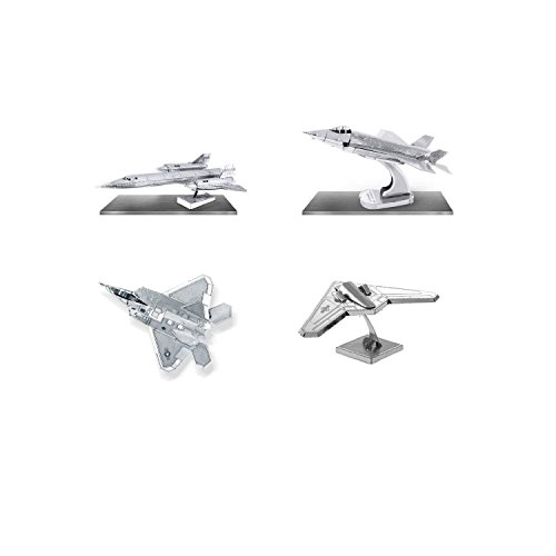 set-of-4-metal-earth-3d-laser-cut-lockheed-martin-plane-models-f-35-lightning-f-22-raptor-rq-170-sen