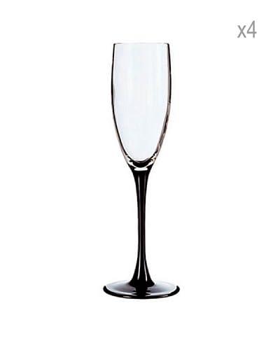 Luminarc Estuche 4 Copas Champagne 17 cl Modelo Domino Negro