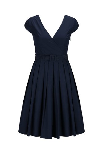 Eshakti Women'S Belted Fit-And-Flare Poplin Dress L-14 Regular Navy Blue