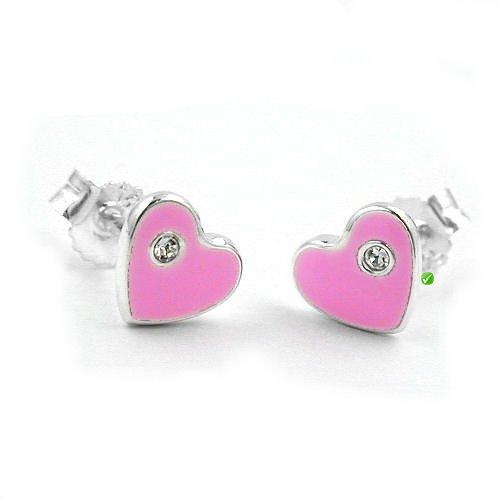 Bambini orecchini a forma di cuore rosa laccato con cristalli SWAROVSKI