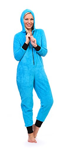 Totally Pink Women's Warm and Cozy Neon Onesie Pajama (Large, Neon Blue)