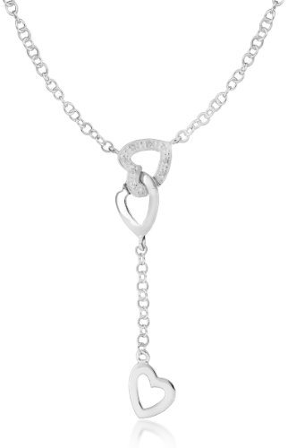 Silver Cubic Zirconia Heart Y-Necklace 46cm/18
