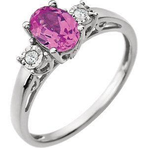 14kt White Created Pink Sapphire & .04 CTW Diamond Ring