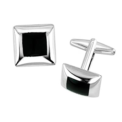 Square Cornered Shaped Cufflink With Black Inlay
