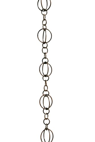 Patina Products R256 Antique Copper Life Circles Rain Chain Full Length