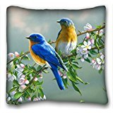 Decorative Square Throw Pillow Case Animals Bluebirds 18