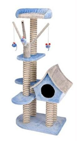 Cat-Life Deluxe Cat Cottage with Lounging Tower & Scratching Post, Blue/Gray – 21 x 14 x 50 Inches (WxDxH)