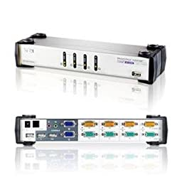 NEW 4-Prt Dual-View KVMP Switch w/ (Peripheral Sharing)