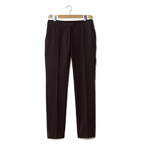 Suncoo Womens Straight Cut Honeycomb Weave Trousers Black Size L