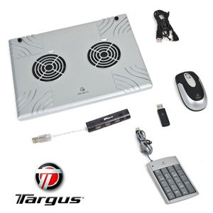Targus BUS0134 Home/Office Laptop Bundle (Includes Targus Notebook Cooling Chill Mat, Targus Wireless Mouse, Targus Numeric Keypad with 2 USB Ports, and Targus 4-Part Hub) Reviews