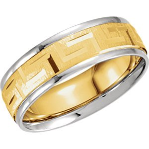 18K Yellow Gold & Platinum, Two-Tone 7Mm Comfort-Fit Greek Key Design Band, Size 06.50