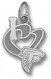 Atlanta Falcons Sterling Silver ''I Heart'' Falcon Logo 1/2'' Enamel Pendant