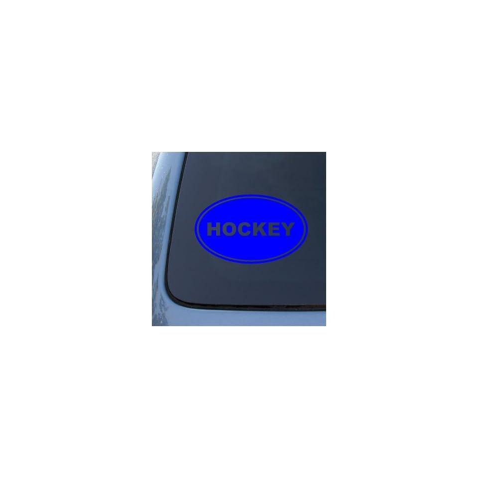 HOCKEY EURO OVAL   Sports   Vinyl Car Decal Sticker #1716  Vinyl Color Blue