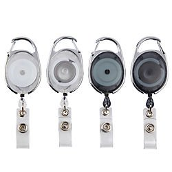 Office Depot Carabiner-Style ID Card Reels, Assorted Colors, Pack Of 4, XS005002A