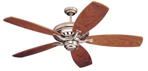 54u2033 Maxima 5 Blade Ceiling Fan With Remote Finish: Brushed Pewter With  Walnut Veneer Blades