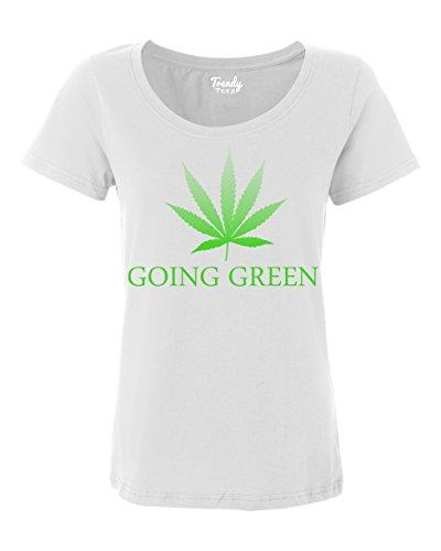 Trendy-Teez-Going-Green-Weed-Leaf-Marijuana-Pot-womens-T-Shirts-white-2X