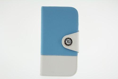 JAPAEMO Galaxy S4 (SC-04E) バイカラーデザイン フリップ型 カードケース ストラップホール 付き 全7色ドコモ ギャラクシーS4 ケース ライトブルー [JE00997]