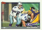 1991 Topps Troy Aikman Football Card #371 - Shipped In Protective Display Case!