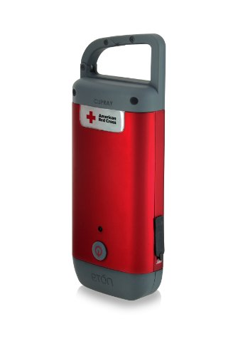 Etón American Red Cross CLIPRAY USB Cell Phone Charger with Hand Crank LED Flashlight - Red (ARCCR100R_SNG)
