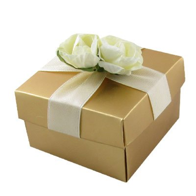 Rosallini Jewelry Watch Package Off White Floral Decor Paper Gift Box Gold Tone